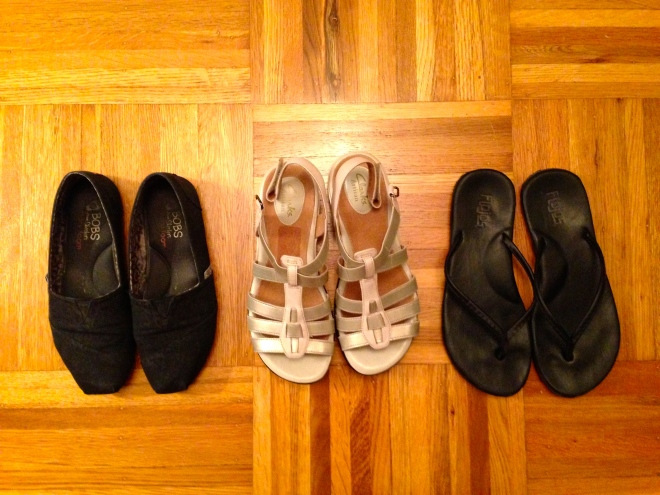 Three is the perfect number for travel shoes.